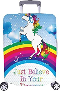 InterestPrint Fairytale Unicorn with Raibow Travel Luggage Protector Baggage Suitcase Cover Fits 26