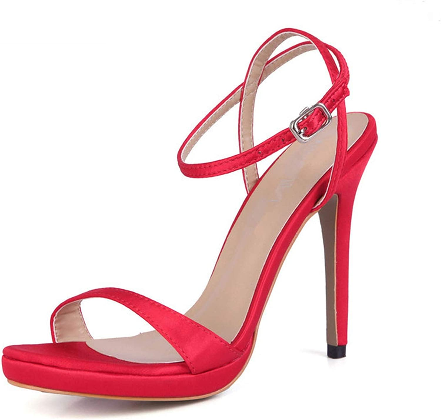 Summer Sexy Sandals 12 cm High Heels Ankle Strap shoes Woman RED Party Pumps