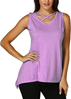 VESKRE Women's Summer Tank Tops Criss Cross Solid Sleeveless Irregular T-Shirt Front V-Neck