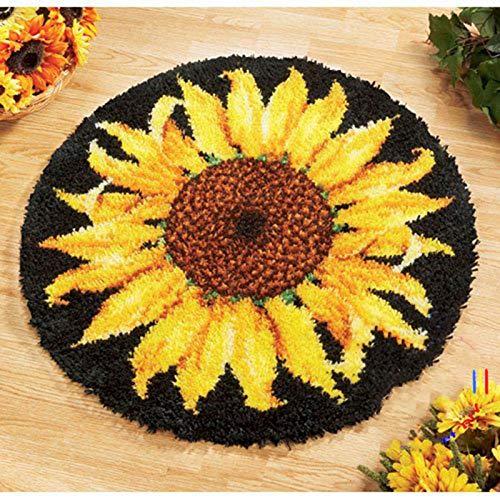 Latch Hook Rug Kit, Sunflower Pattern Printed Canvas DIY Rug Crochet Yarn Kits, Embroidery Decoration Family Gift 20.4' X 20.4' (5252Cm)