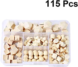 SUPVOX 115pcs Wood Push Pin Set Combine Round Square Cylinder Shape Wooden Thumb Tacks for Cork Board Map Photo Poster Calendar Home Office Craft