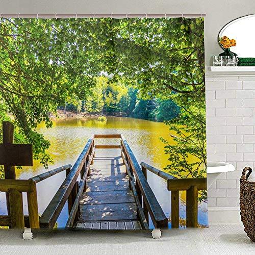 HHKX100822 Bagno Decor Umbria Foresta Doccia Tenda Paesaggio Tessuto Tessuto Toilet Curtain per Bagno con 12 Ganci W180xH200cm Un