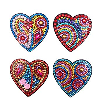 4PCS Refrigerator Magnets DIY Diamond Painting Kit Special Shape Full Drill Fridge Magnets Sticker for Kitchen Refrigerator Whiteboard Photos Notes Memos Kids Arts Crafts Office Home Decor  Heart