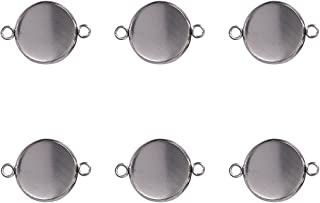 50pcs Stainless Steel Bezel Pendant Trays Double Holes Cabochon Settings Trays Pendant Blanks