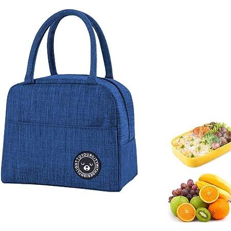Youkii Sac Isotherme Repas,Lunch Bag Portable, Sac à lunch Sac thermique pour Enfants Femmes (1 Pcs-Bleu (style 2))