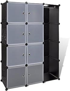vidaXL Armario modular con 9 compartimentos Blanco y Negro 37 x 115 x 150 cm