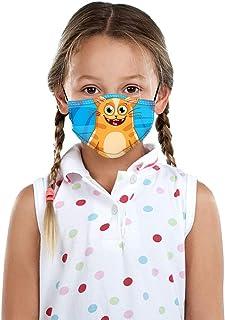 Padaleks Kids Cute Cartoon Face Madk Adjustable Earloops Comfy Breathable Filter Reusable Bandana Scarf for Boys Girls