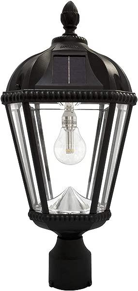 Gama Sonic GS 98B F BLK Royal Bulb Lamp Outdoor Solar Light Fixture 3 Post Fitter Mount Black
