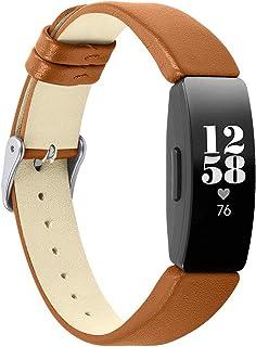 Jennyfly Inspire HR Bracelet de montre en cuir fin pour femme avec boucle en métal réglable de 14 à 20,3 cm Compatible ave...