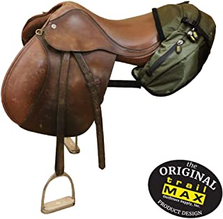 TrailMax English/Endurance Horse Saddle Bag for Trail-Riding, Featuring 3 Compartments & Quick Release Compression Straps, Available in Black, Pewter Gray & Sage Green