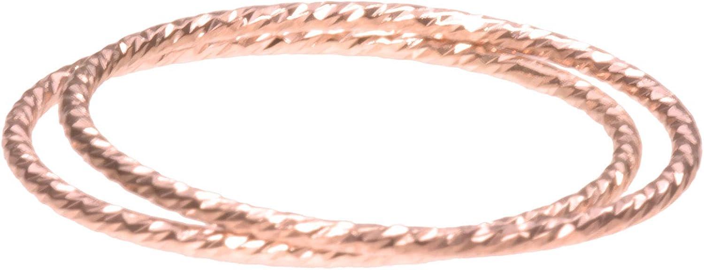 uGems 2 14K Rose Gold Filled Sparkle Stacking Ringss Assorted Sizes
