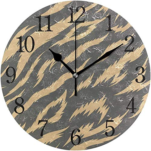 Wanduhr Golden Tiger Stripes Moderne Einfache Schreibtischuhr Indoor Non-Ticking Silent Quartz Silent Sweep Action Wanduhr Geeignet Für Büro Badezimmer Wohnzimmer Dekoration 24 Cm