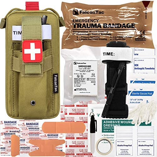 FalconTac Everyday Carry Trauma Kit IFAK Emergency Treatment Care EMT First Aid Kit Tan product image