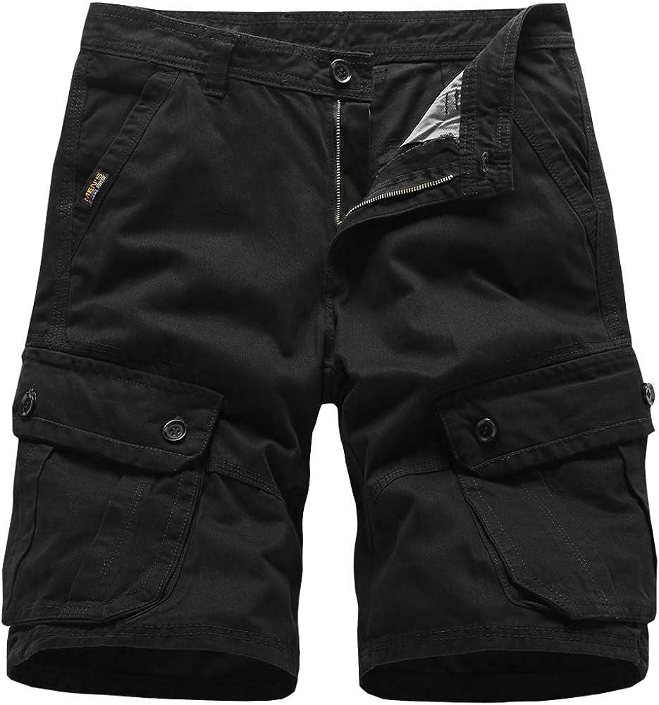 Ffox Mens Multi-Pocket Solid Casual Camo Cotton Loose Cargo Shorts