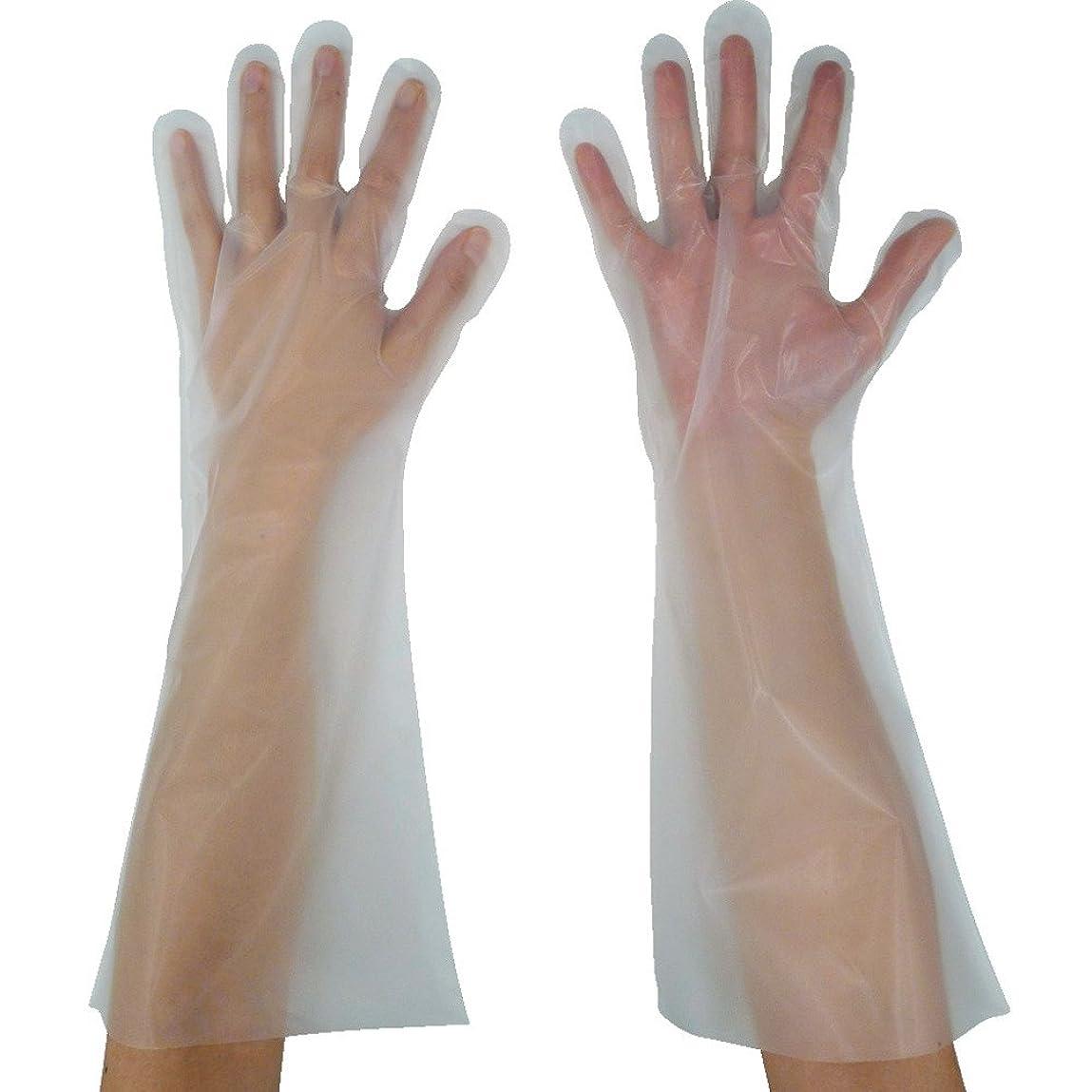 導出バルセロナスキム東京パック 緊急災害対策用手袋ロング五本絞りS 半透明 KL-S ポリエチレン使い捨て手袋