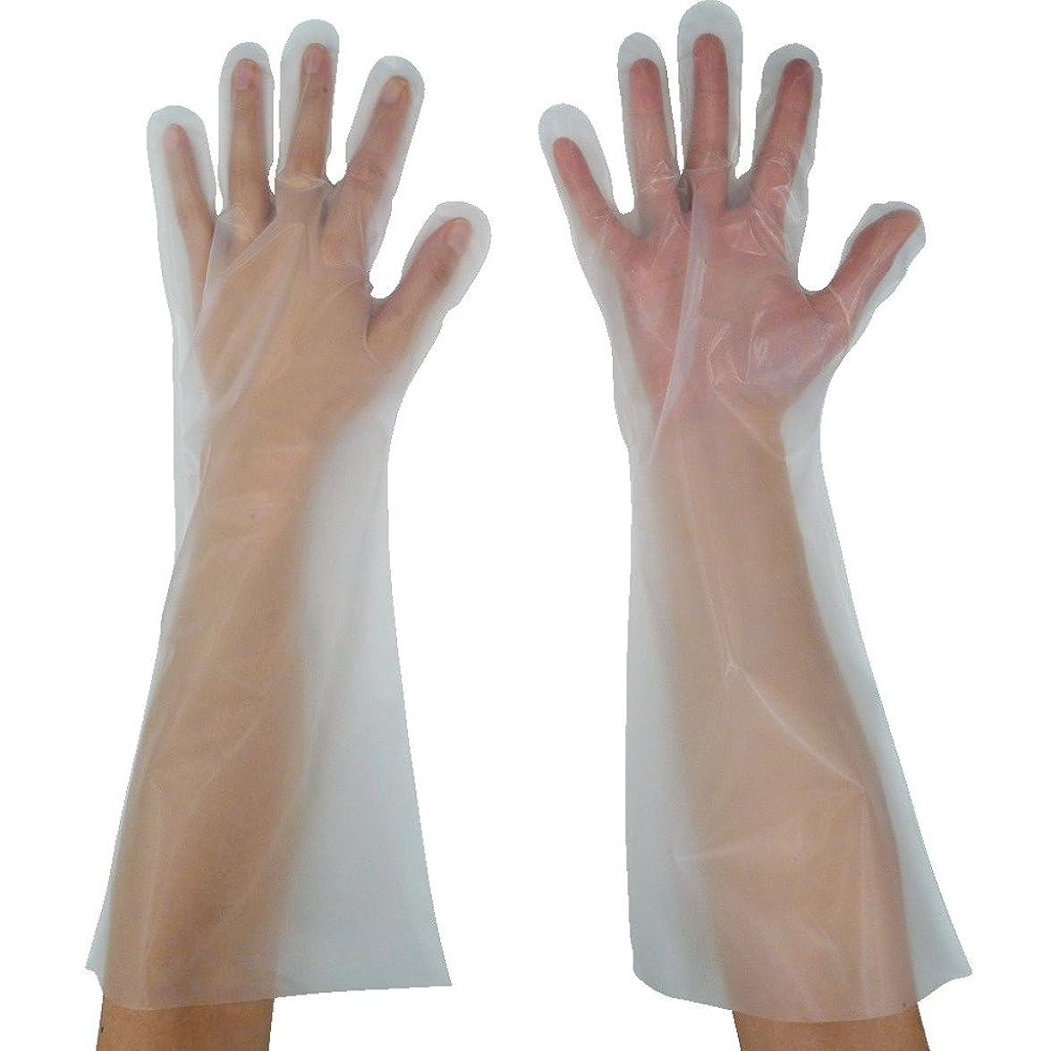 留め金コンサルタント知恵東京パック 緊急災害対策用手袋ロング五本絞りL 半透明 KL-L ポリエチレン使い捨て手袋