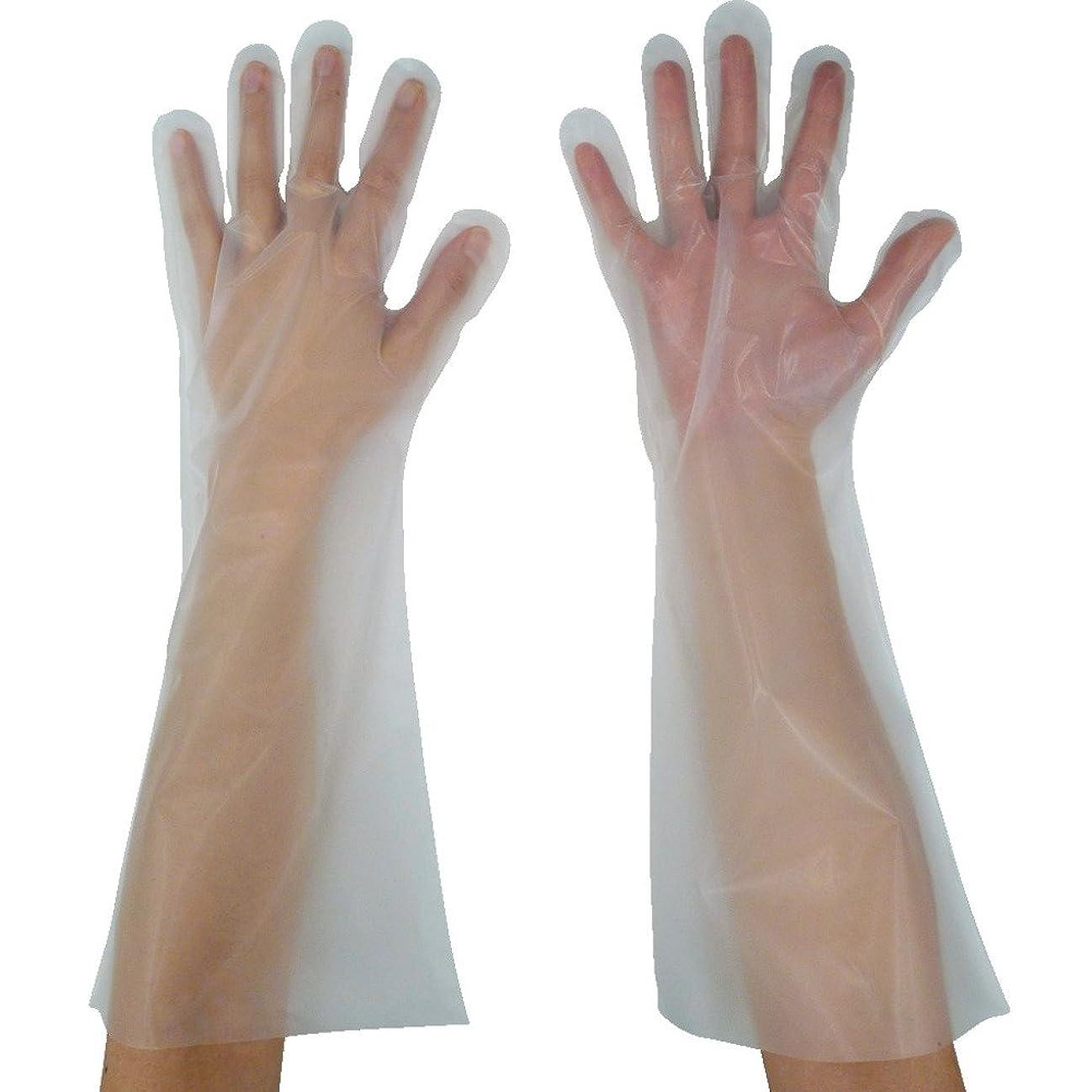 任命招待スチュワーデス東京パック 緊急災害対策用手袋ロング五本絞りM 半透明 KL-M ポリエチレン使い捨て手袋