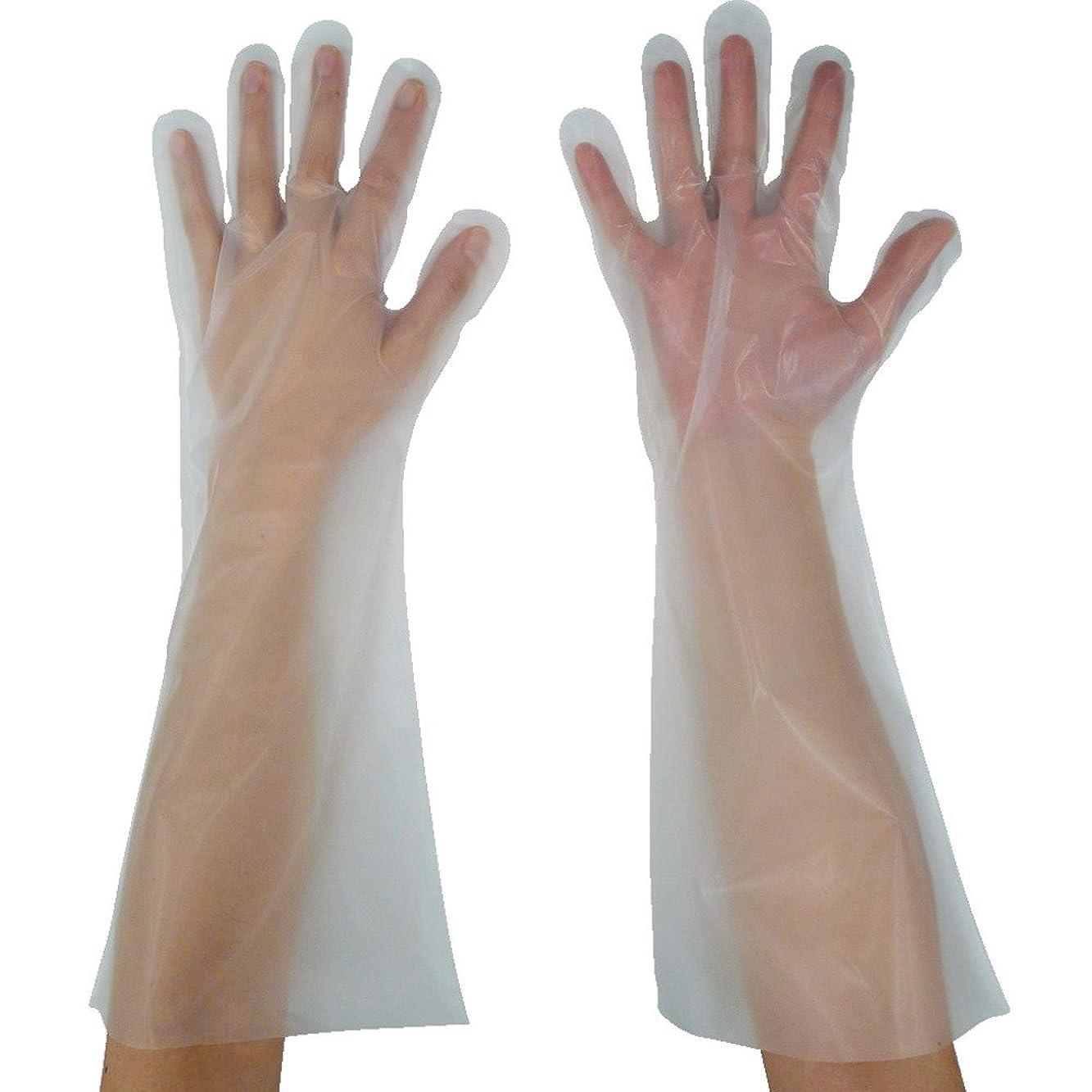 著者休戦回想東京パック 緊急災害対策用手袋ロング五本絞りM 半透明 KL-M ポリエチレン使い捨て手袋
