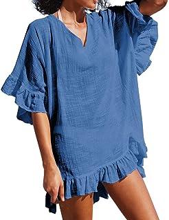 Riverdalin Off Shoulder Floral Print Dress for Women Casual Boho Beach Dress Sundress Midi Dress Loose Swing Dress
