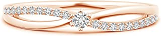 April Birthstone-Lab Grown Diamond Split Shank Promise Ring in 14k Solid Gold (0.14 ctw, H Color & SI2 Clarity)