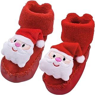 ZSWQ Calcetines de Bebé Engrosados de Felpa de Otoño e Invierno, Zapatos y Calcetines de Bebé de Dibujos Animados Navideño...