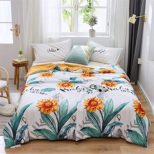 smzzz Home Decoration Quality Quilt Summer Cartoon Quilt Cool and Smooth Absorbent and Breathable Solid Color Embroidered Summer Quilt/quilt Microfiber Soft Touch (J 180 x 200 cm)