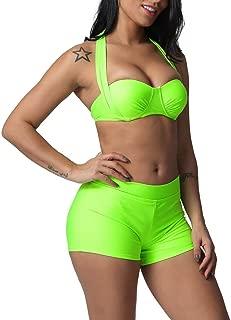 iNoDoZ Swimsuits for Women Solid Bandage Two Pieces Bikini Set Boy Short Swimwear Beach Bathing Suit