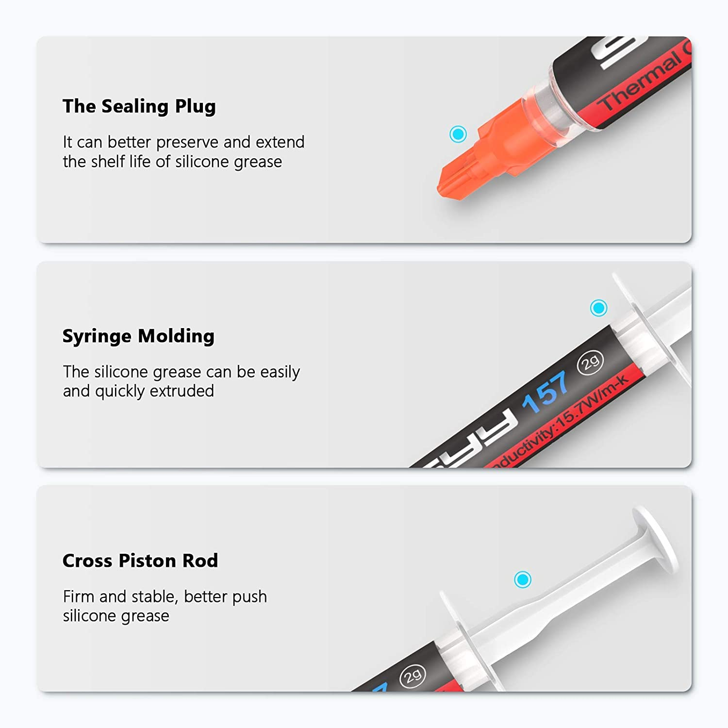 Thermal Paste, SYY 2 Grams CPU Paste Thermal Compound Paste Heatsink for IC/Processor/CPU/All Coolers, 15.7W/m.k Carbon Based High Performance, Thermal Interface Material, CPU Thermal Paste