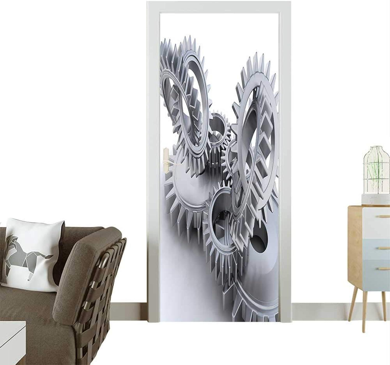 Homesonne Waterproof Decoration Door Decals D Render of Interlocking Gears Perfect Ornament W36 x H79 INCH