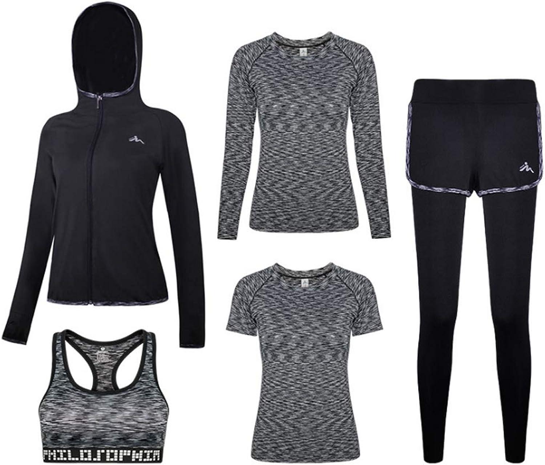 Women's Sportswear Zipper Hoodie and Tights Running Sportswear Gym Sportswear Yoga Clothes FivePiece Suit