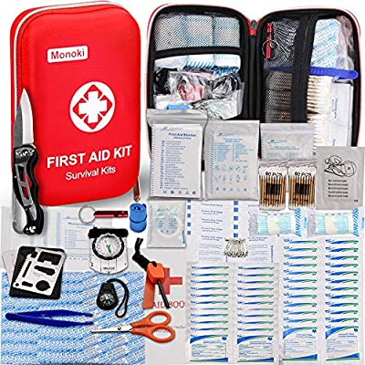 174 Pcs First Aid Kit Survival Kit, Monoki Emergency Survival Kit Medical Supplies Trauma Bag Safety First Aid Kit for Home, Office, School, Car, Boat, Travel, Camping, Hiking, Sports, Adventures from Monoki