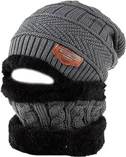 Monique Unisex 2 Pieces Solid Color Beanie Hat Scarf Set Winter Warm Knit Fleece Lined Skull Cap Neck Warmer