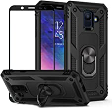 BestShare for Samsung Galaxy A6 2018 Case with Tempered Glass Screen Protector, Rugged Hybrid Armor Anti-Scratch Shockproof Kickstand Cover Compatible Magnetic Car Mount Ring Grip, Black