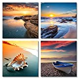 Pyradecor Sunset Sea Beach Modern Seascape Pictures Paintings on Canvas Wall Art 4 Panels Stretched Canvas Prints Artwork for Living Room Bedroom Home Office Decorations