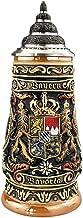 German Beer Stein Bayern Stein 0.4 liter tankard, beer mug, cobalt, colored, painted by hand, with pewter lid