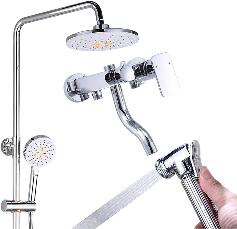 GXQLYHS Badezimmer-Dusche-Set, Fester Sprinkler Hand-Dusche-Set, mit Spritzpistole Bidet, Top Sprinkler Dusche Wasserhahn - Kupfer, Fitnessraum Haus