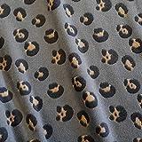 Stoff Meterware Wellness grau beige Leo Animal print Fleece