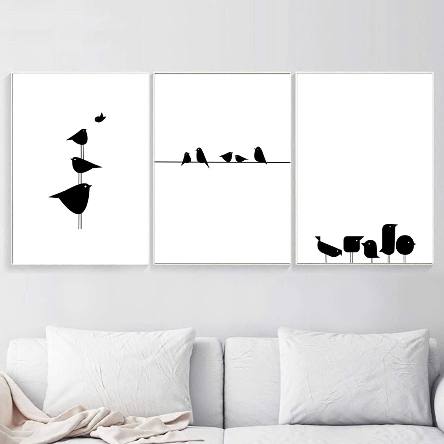 Minimalism Cute Bird OFFicial Limited time trial price store Black White Art Wall Nordic Painting Canvas