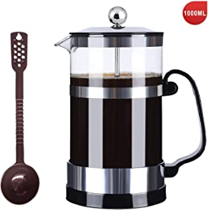SmartHom French Press Coffee Maker 34 Oz 8 Cups, Particular Coffee Press & Tea Maker with Triple Filters and Durable Heat Resistant Glass (Silver)