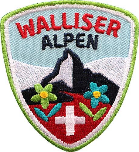 Club of Heroes 2 x Walliser Alpen Abzeichen 55 x 60 mm gestickt/Schweiz Bergtour Zermatt Matterhorn Bergsteigen Wandern Klettern/Aufnäher Aufbügler Sticker Patch/Wallis Suisse Reiseführer Wanderkarte