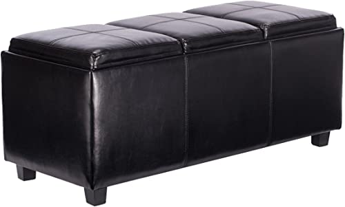 lowest Giantex PU lowest Leather Storage Bench Ottoman Foot Rest wholesale Stool with 3 Serving Trays (Black) online sale