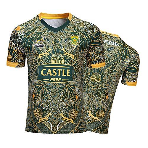 Herren Rugby-Trikot, Südafrika 100th Anniversary Edition Atmungsaktives Fußball-T-Shirt, WM-Unterstützer-T-Shirt Sport Top-XL