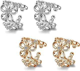 4Pcs Clip on Earrings Ear Cuffs Stainless Steel CZ for Women Girls U Shaped Fake Earring Clip on Stud Earrings Non Pierced