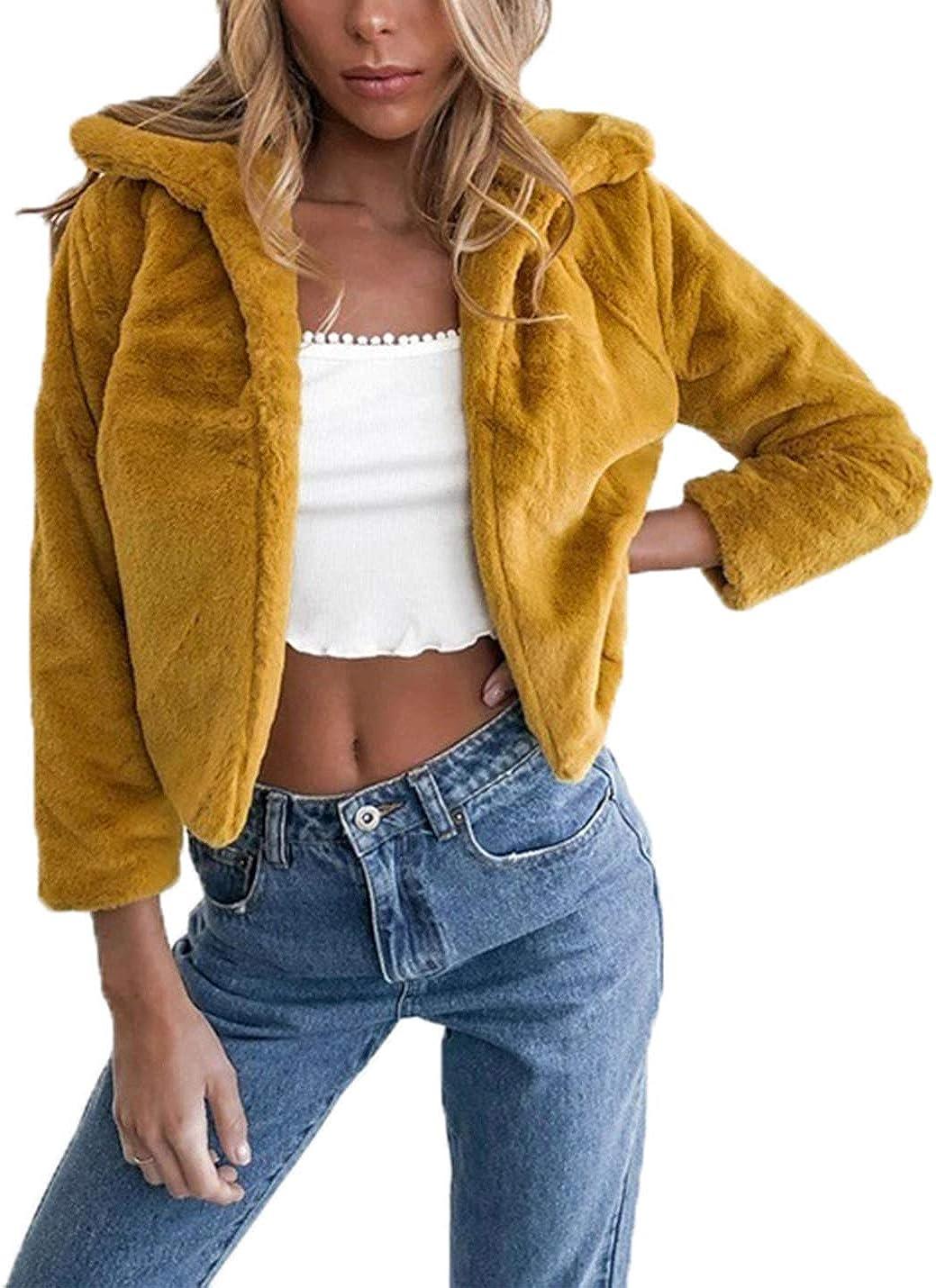 PAODIKUAI Women Luxury 3/4 Sleeve Faux Fur Short Cardigan Coat Warm Fur Jacket Outwear