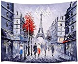 Tapiz de pintura al óleo de la calle de París, París Ciudad europea Francia Torre Eiffel Tapiz de pared de la calle, Tapiz de paisaje urbano en blanco y negro Colgante de pared 60X40IN