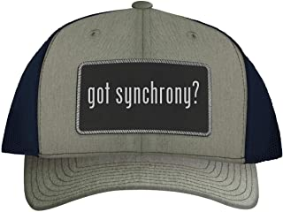 One Legging it Around got Synchrony? - Leather Black Metallic Patch Engraved Trucker Hat