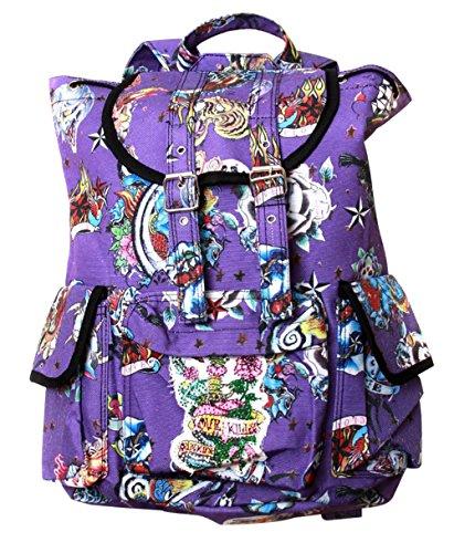Clover Hipster Mochila estilo mochila – Tatuaje púrpura estilo duro