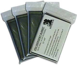 4-pack Olive Drab Emergency Space Blankets (Military Casualty/Trauma Survival Blanket)