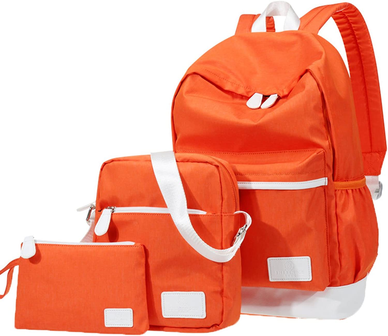 Backpack Canvas Pure color Preppy Style Fashion Causal 4 Sets Teens School Bag orange Set3 281544cm 11.03 5.91 17.34