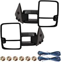 Qiilu Black Manual Signal Towing Mirrors Power Heated LED Front Left/Right Fit for Chevy Silverado GMC Sierra 1500/2500 Suburban Yukon Avalanche 2002 GM1320411, GM1321411, 15172059,15172060(2pcs)